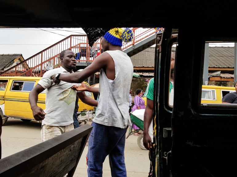 bus drivers traffic fighting